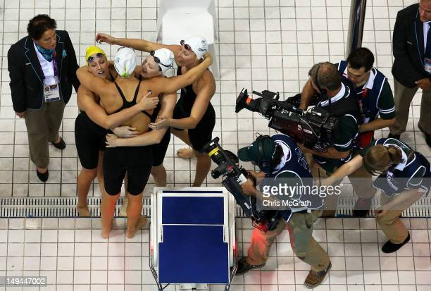 Brittany Elmslie Melanie Schlanger Cate Campbell and Alicia Coutts of Australia celebrate after they won the Final of the Women's 4x100m Freestyle...