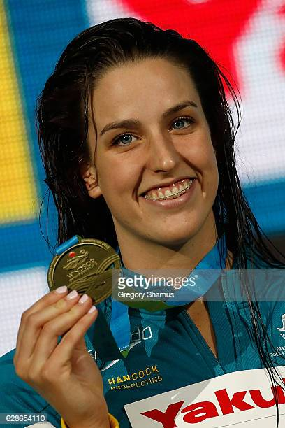 Brittany Elmslie of Australia celebrates her gold medal in the 100m Freestyle final on day three of the 13th FINA World Swimming Championships at the...