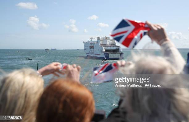 Brittany Ferries' MV Mont Saint Michel leaves Portsmouth harbour escorted by a flotilla of ships from the Royal Navy and Dunkirk small boats...