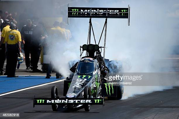 Brittany Force prepares for her top fuel semifinals appearance against during Mile High Nationals. Mile High Nationals at Bandimere Speedway on...