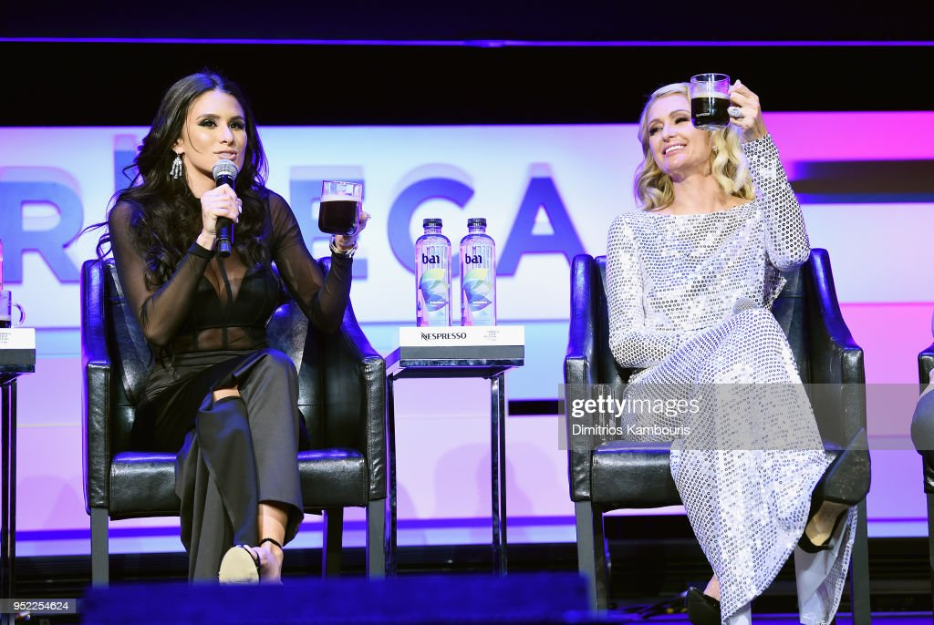 Brittany Furlan (L) and Paris Hilton speak onstage during the 2018 Tribeca Film Festival World Premiere of Bert Marcus' THE AMERICAN MEME on April 27, 2018 at Spring Studios in New York City.