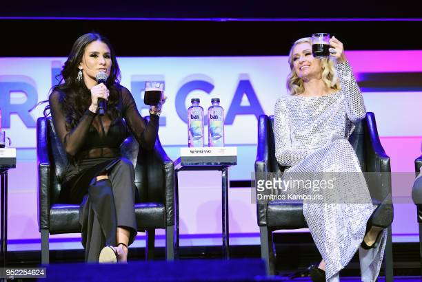 Brittany Furlan and Paris Hilton speak onstage during the 2018 Tribeca Film Festival World Premiere of Bert Marcus' THE AMERICAN MEME on April 27...