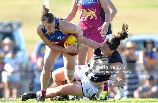 Brittany Gibson of the Lions breaks away from the defence during the Women's AFL round three match between the Brisbane Lions and the Collingwood...