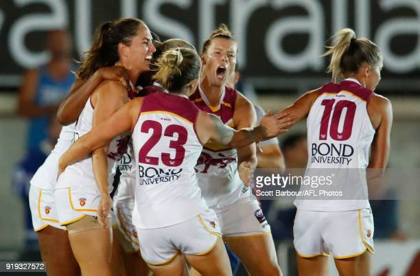 Brittany Gibson of the Lions celebrates after kicking a goalduring the 2018 AFLW Round 03 match between the Carlton Blues and the Brisbane Lions at...