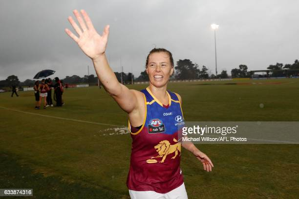 Brittany Gibson of the Lions celebrates during the 2017 AFLW Round 01 match between the Melbourne Demons and the Brisbane Lions at Casey Fields on...