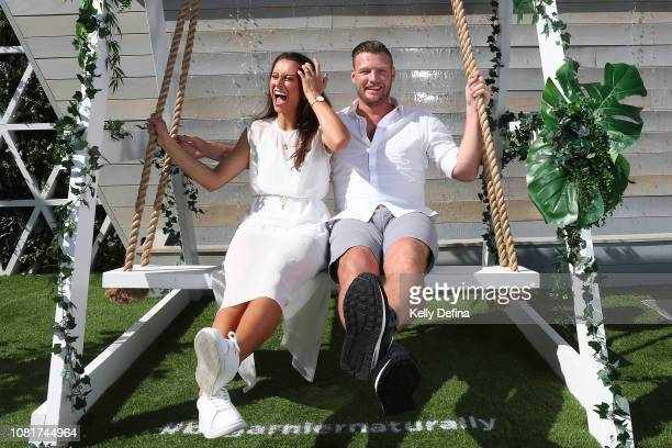 Brittany Groth and Sam Groth pose for a portrait in the Garnier activation at the 2019 Australian Open at Melbourne Park on January 13 2019 in...