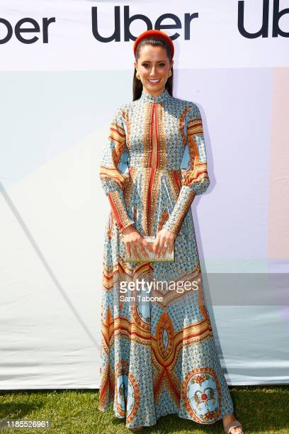 Brittany Groth arrives at Lexus Melbourne Cup Day at Flemington Racecourse on November 05 2019 in Melbourne Australia