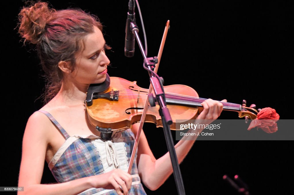 Brittany Haas,of Dave Rawlings Machine performs at Brown Theatre on August 16, 2017 in Louisville, Kentucky.