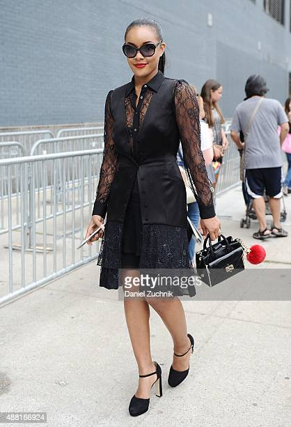 Brittany Hampton is seen outside the DVF show wearing a DVF black outfit during New York Fashion Week 2016 on September 13 2015 in New York City