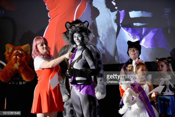 Brittany High speaks to the winner of the Furrocious Fashion Face Off onstage at CatCon Worldwide 2018 at Pasadena Convention Center on August 4 2018...