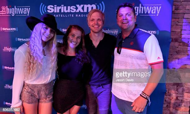 Brittany Hlljes Elizabeth Hopkins and Ian Hlljes of Delta Rae and SiriusXM Host Storme Warren arrive at SiriusXM The Highway's Live Broadcast of the...