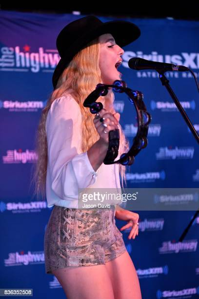 Brittany Hlljes of Delta Rae performs on stage during SiriusXM The Highway's Live Broadcast of the Solar Eclipse at FGL House on August 21, 2017 in...