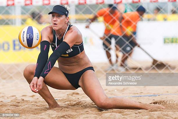 Brittany Hochevar of the United States in action during the main draw match against the United States at Camburi beach during day four of the FIVB...