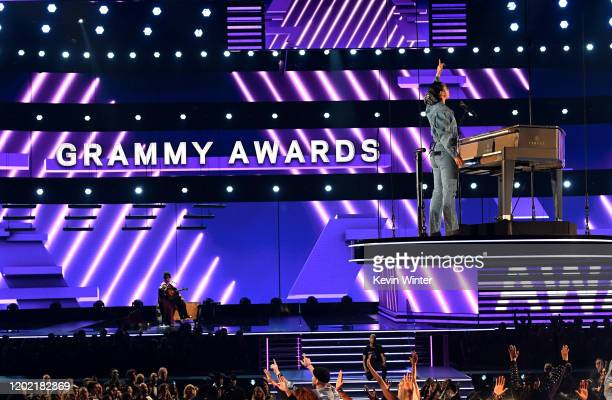 Brittany Howard and host Alicia Keys perform onstage during the 62nd Annual GRAMMY Awards at STAPLES Center on January 26, 2020 in Los Angeles,...