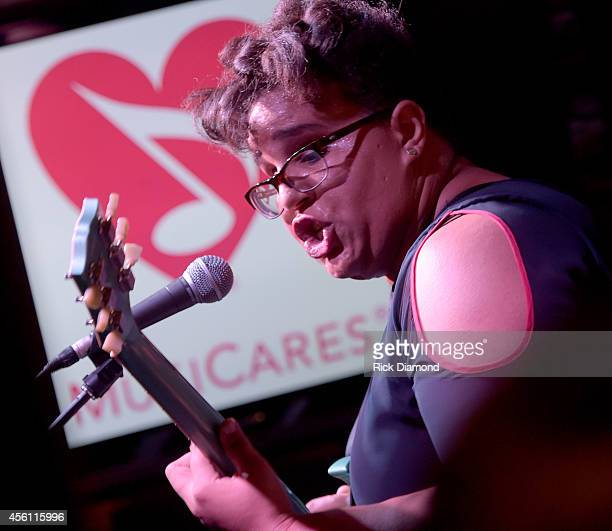 Brittany Howard of Alabama Shakes performs during MusiCares House Concert Hosted by Pete Fisher featuring Alabama Shakes on September 25 2014 in...