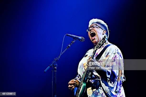 Brittany Howard of Alabama Shakes performs on stage at Port Of Rotterdam on July 10 2015 in Rotterdam Netherlands