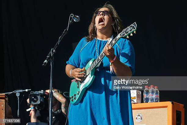 Brittany Howard of Alabama Shakes performs on stage on Day 3 of Glastonbury Festival at Worthy Farm on June 29 2013 in Glastonbury England