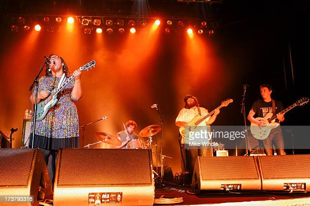 Brittany Howard, Steve Johnson, Zac Cockrell and Heath Fogg of Alabama Shakes perform on stage at Hollywood Palladium on July 17, 2013 in Hollywood,...