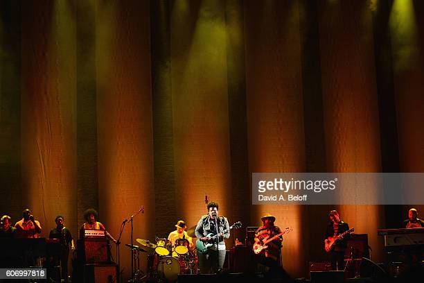 Brittany Howard, Zac Cockrell, Heath Fogg & Steve Johnson of Alabama Shakes perform live in concert at Portsmouth Pavilion on September 16, 2016 in...