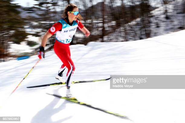 Brittany Hudak of Canada competes in the Women's 75 km Standing Classic at Alpensia Biathlon Centre on Day 8 of the PyeongChang 2018 Paralympic Games...