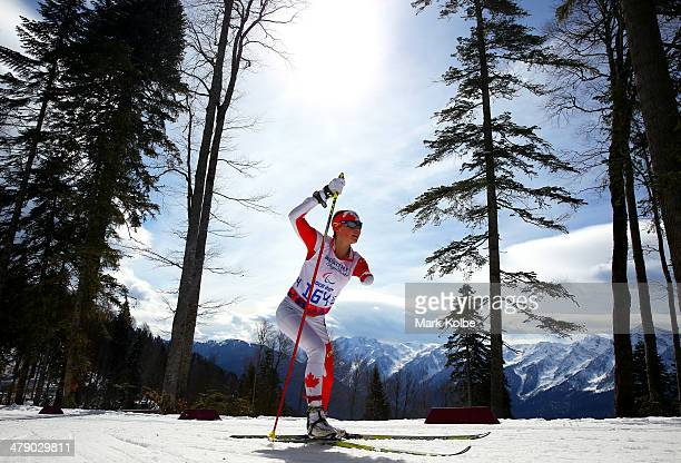 Brittany Hudak of Canada competes in the Women's Cross Country 5km Free – Standing on day nine of the Sochi 2014 Paralympic Winter Games at Laura...