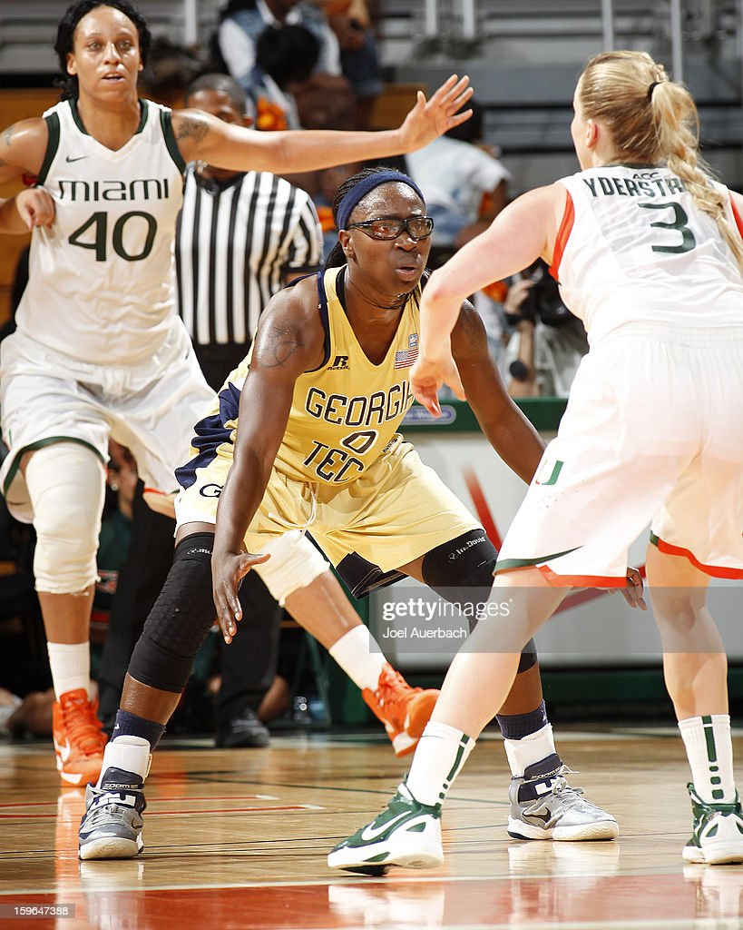 Brittany Jackson #0 of the Georgia Tech Yellow Jackets defends against Stefanie Yderstrom #3 of the Miami Hurricanes on January 17, 2013 at the BankUnited Center in Coral Gables, Florida. Miami defeated Georgia Tech 71-65.