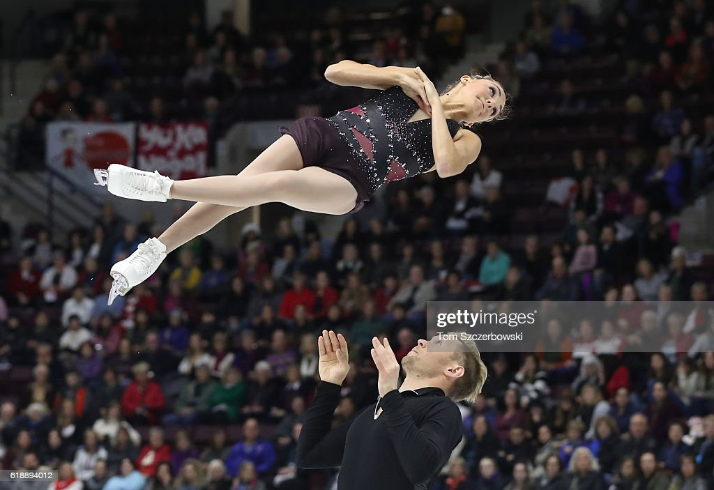 Brittany Jones of Canada and Joshua Reagan compete in the Pairs Short Program during day one of the 2016 Skate Canada International at Hershey Centre on October 28, 2016 in Mississauga, Canada.