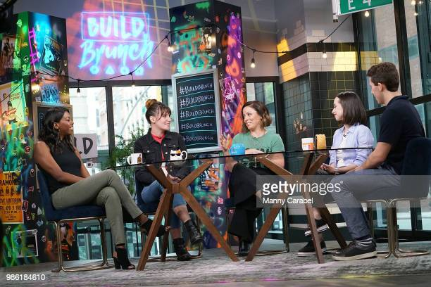 Brittany JonesCooper Shannon Coffey Kay Cannon Ali Kolbert and Lukas Thimm attend the 'Build Brunch' at Build Studio on June 28 2018 in New York City