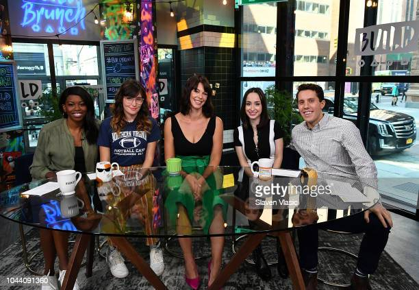 Brittany JonesCooper Shannon Coffey Pollyanna McIntosh Ali Kolbert and Lukas Thimm at Build Brunch discussing the new season of The Walking Dead at...