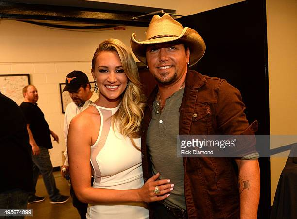 Brittany Kerr and Jason Aldean attend the 2014 CMT Music Awards at Bridgestone Arena on June 4, 2014 in Nashville, Tennessee.