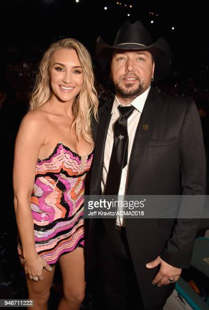 Brittany Kerr and Jason Aldean attend the 53rd Academy of Country Music Awards at MGM Grand Garden Arena on April 15, 2018 in Las Vegas, Nevada.