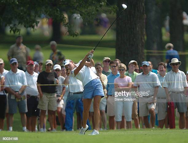 Brittany Lang in action during the second round of the John Q Hammons Hotel Classic at the Cedar Ridge Country Club in Broken Arrow Oklahoma on...