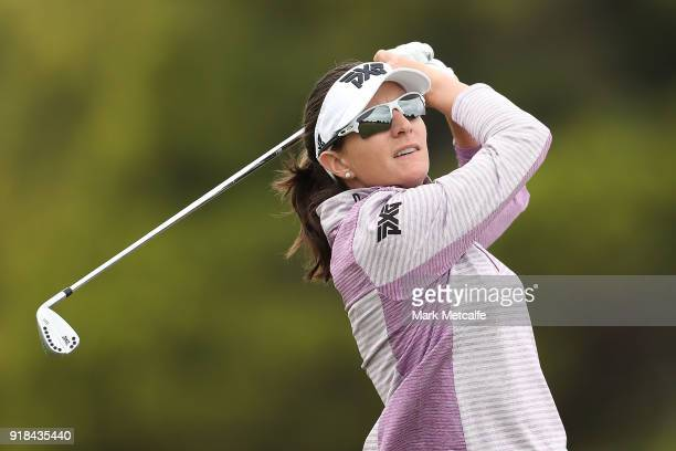 Brittany Lang of the United States hits an approach shot during day one of the ISPS Handa Australian Women's Open at Kooyonga Golf Club on February...