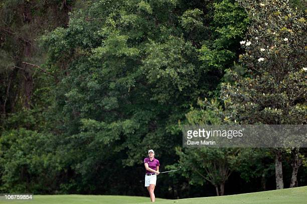 Brittany Lang watches her approach to the ninth green during second round play in the Bell Micro LPGA Classic at the Magnolia Grove Golf Course on...