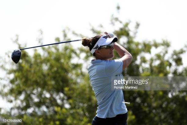 Brittany Lang watches her tee shot on the 6th hole during the first round of the Energy Producers Inc Texas Women's Open on June 02 2020 in The...