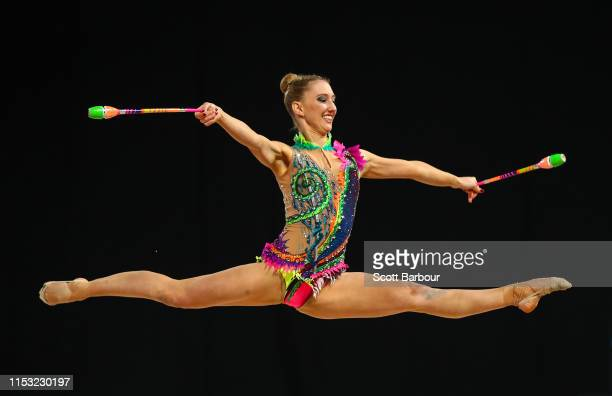 Brittany Law of South Australia competes with the Clubs in the Level 10 Apparatus Finals during the 2019 Australian Gymnastics Championships at...