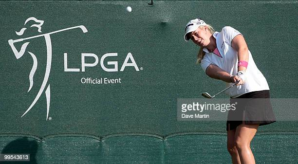 Brittany Lincicome chips to the 18th hole during second round play in the Bell Micro LPGA Classic at the Magnolia Grove Golf Course on May 14 2010 in...