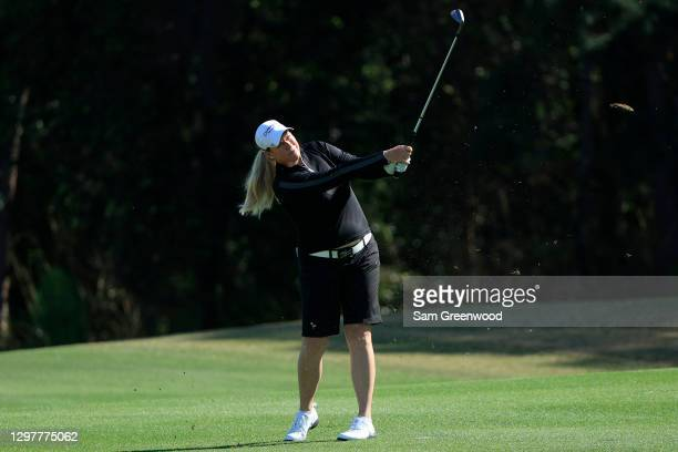 Brittany Lincicome hits a shot on the seventh hole during the first round of the Diamond Resorts Tournament Of Champions at Tranquilo Golf Course at...