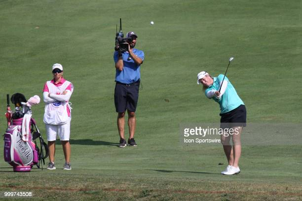 Brittany Lincicome hits her approach shot to the 18th green during a playoff hole during the final round of the LPGA Marathon Classic presented by...