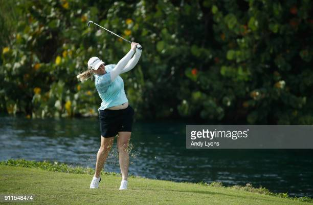 Brittany Lincicome hits her second shot on the 7th hole during the final round of the Pure Silk Bahamas LPGA Classic at the Ocean Golf Course on...