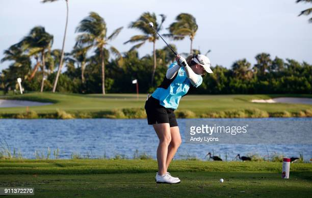 Brittany Lincicome hits her tee shot on the 3rd hole during the second round of the Pure Silk Bahamas LPGA Classic at the Ocean Club Golf Course on...