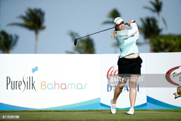 Brittany Lincicome hits her tee shot on the 9th hole during the final round of the Pure Silk Bahamas LPGA Classic at the Ocean Golf Course on January...