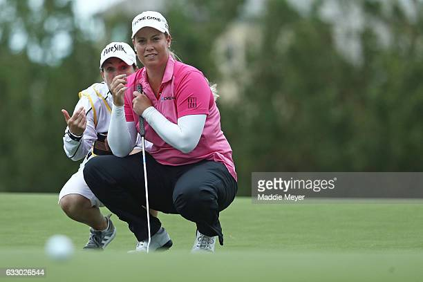 Brittany Lincicome of the United States assesses a putt on the eighteenth green during the final round of the Pure Silk Bahamas LPGA Classic on...