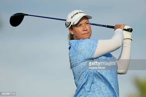 Brittany Lincicome of the United States hits a tee shot on the ninth hole during round two of the Pure Silk Bahamas LPGA Classic on January 27 2017...