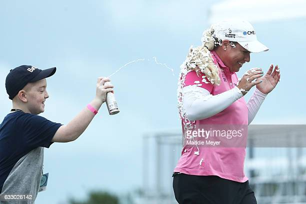 Brittany Lincicome of the United States is sprayed with PureSilk shaving cream after winning the Pure Silk Bahamas LPGA Classic on January 29 2017 in...