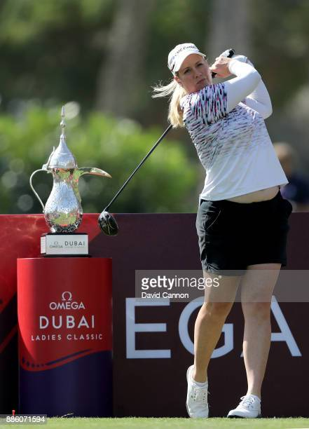 Brittany Lincicome of the United States plays a shot during the proam for the 2017 Dubai Ladies Classic on the Majlis Course at The Emirates Golf...