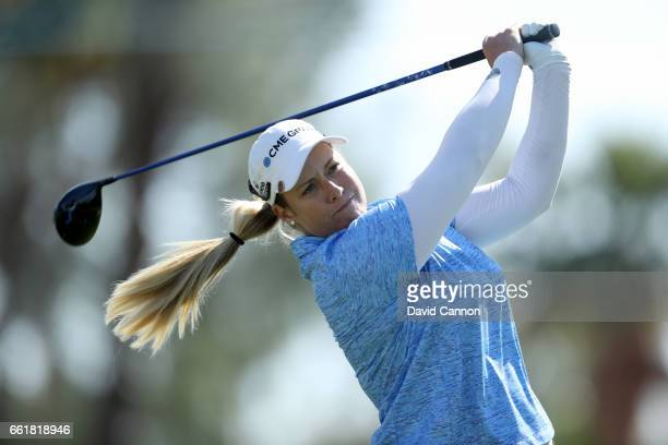 Brittany Lincicome of the United States plays her tee shot on the par 4 third hole during the completion of the delayed first round of the 2017 ANA...