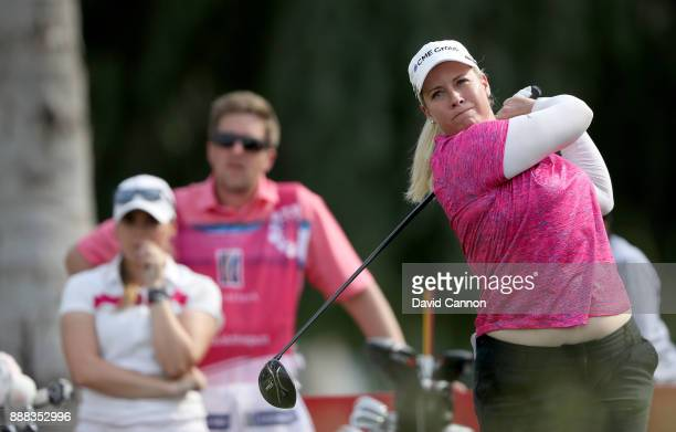 Brittany Lincicome of the United States plays her tee shot on the par 5 18th hole during the third round of the 2017 Dubai Ladies Classic on the...