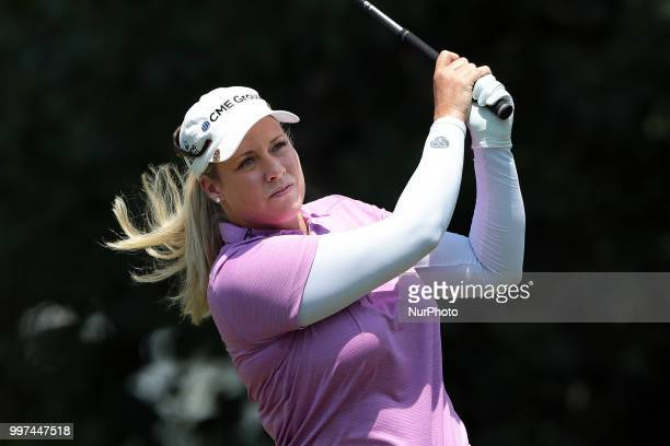 Brittany Lincicome of the United States tees off on the third tee during the first round of the Marathon LPGA Classic golf tournament at Highland...