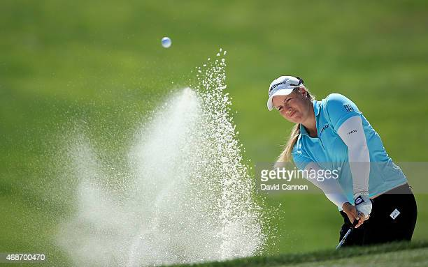 Brittany Lincicome of the USA plays her second shot on the par 3 8th hole during the final round of the ANA Inspiration on the Dinah Shore Tournament...